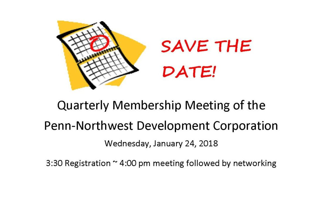 Save the Date!  PNDC Quarterly Meeting 1/24/18